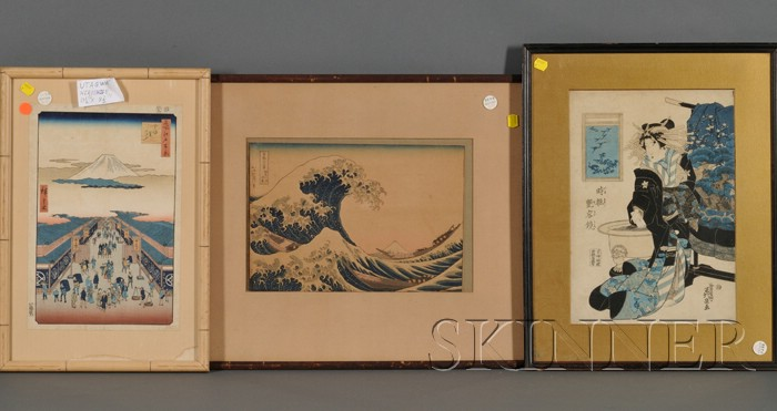 Three Japanese Woodblock Prints: