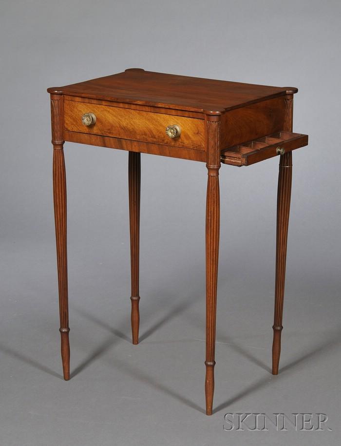 Federal Carved Mahogany and Mahogany Veneer Work Table