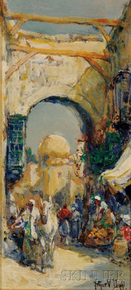 Arthur Vidal Diehl (American, 1870-1929)      Middle East Market Scene.