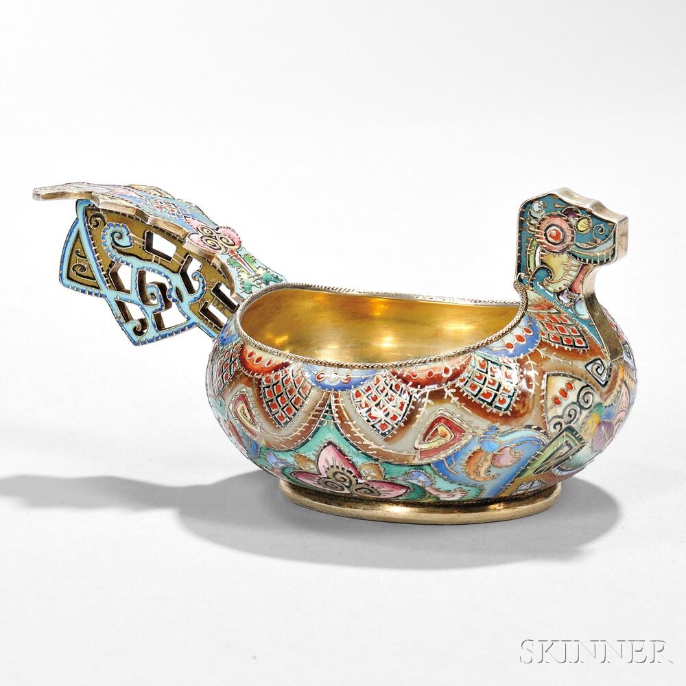 Fabergé .916 Silver-gilt and Cloisonné-enameled Kovsh