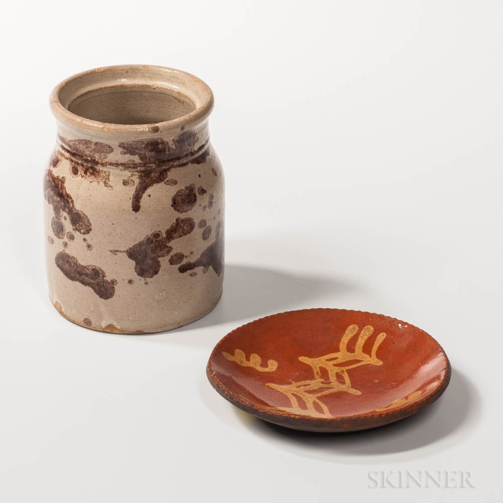 Small Slip-decorated Redware Plate and a Manganese Splotch-decorated Stoneware Jar