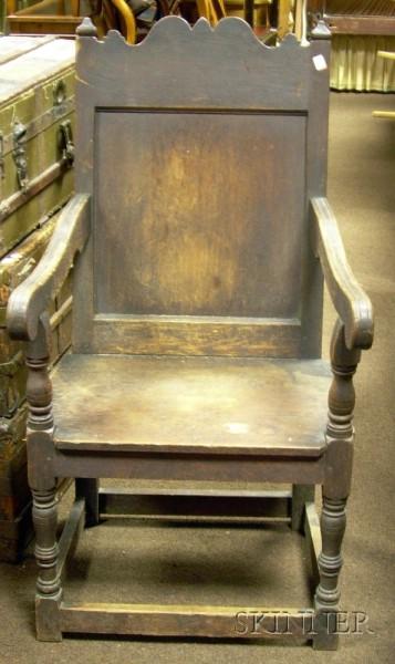 Oak Wainscot Armchair.