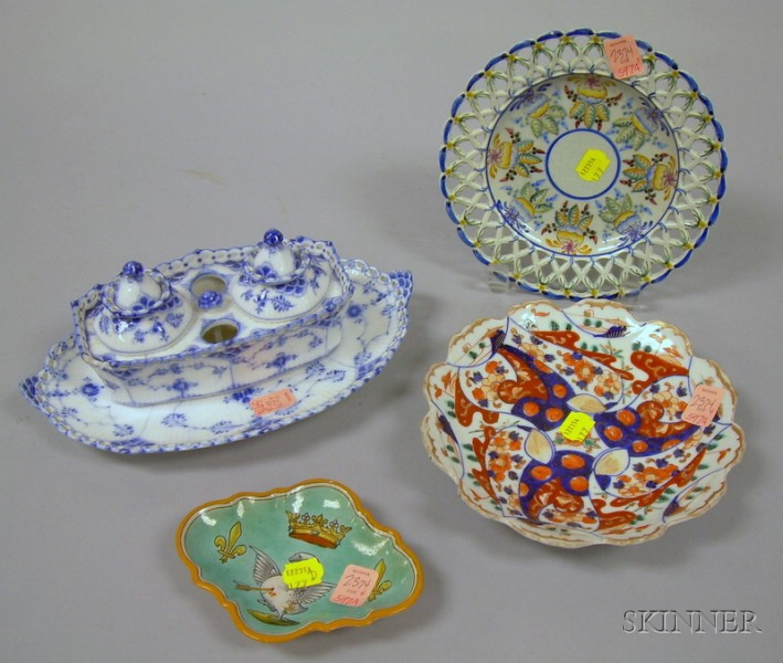 Royal Copenhagen Porcelain Double Inkwell with Undertray, a Portuguese Faience Plate and Shaped Dish, and an Im...