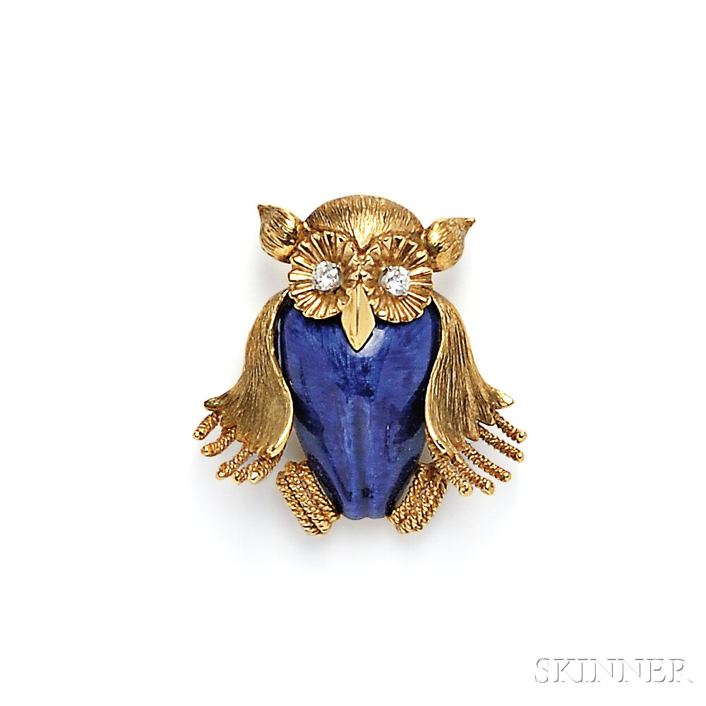 18kt Gold, Enamel, and Diamond Owl Brooch, Emis