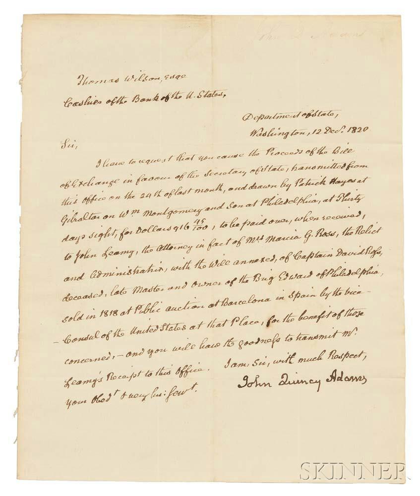 Adams, John Quincy (1767-1848) Secretarial Letter Signed, 12 December 1820.