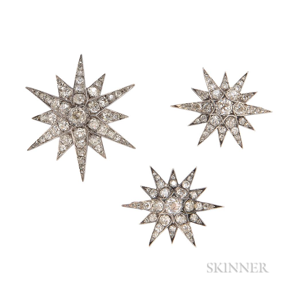Three Antique Diamond Brooches