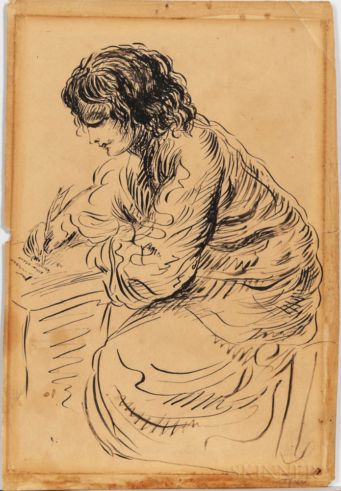 Alcott Nieriker, Abigail May (1840-1879) Drawing of Louisa May Alcott (1832-1888), Attributed to May Alcott.