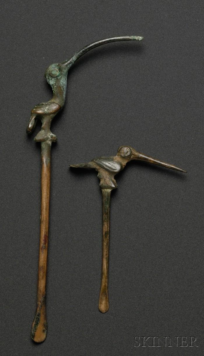 Two Pre-Columbian Copper Lime Spatulas