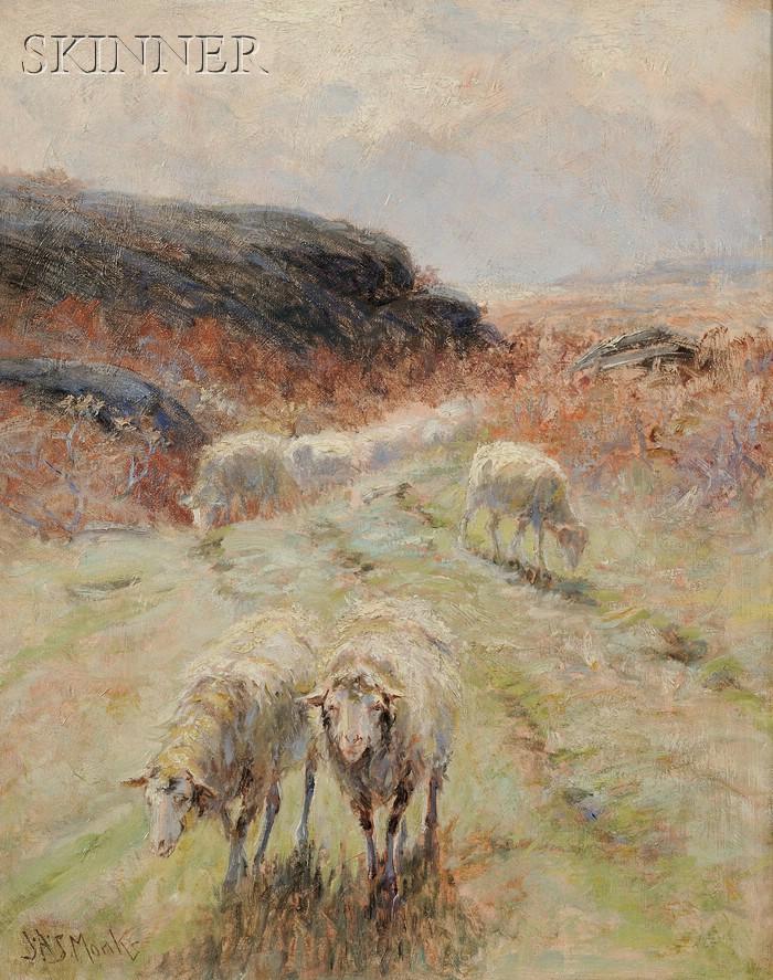John Austin Sands Monks (American, 1850-1917)      Grazing Sheep