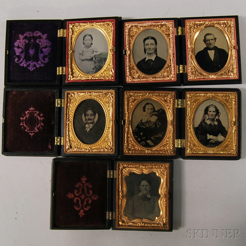 Five Ninth-plate Portraits with Five Sixth-plate Union Cases