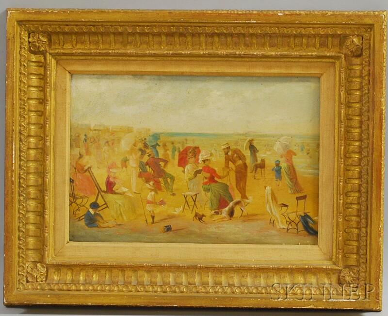 Framed Enhanced Print of a Late 19th Century Beach Promenade Scene