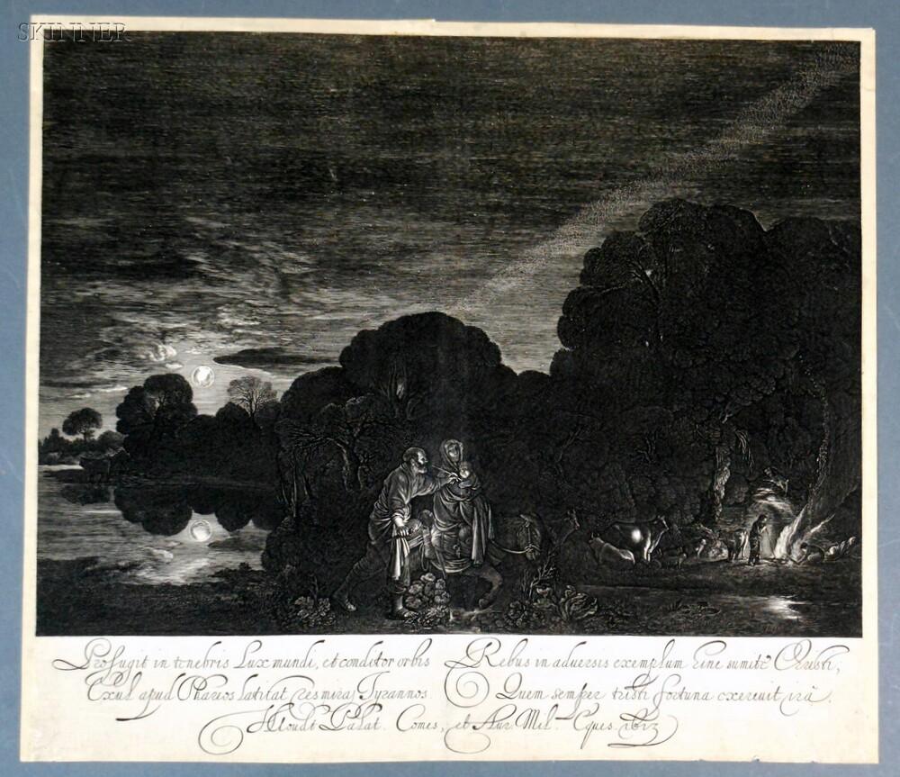 Hendrik Goudt (Dutch, 1583-1648), After Adam Elsheimer (German, 1578-1610)      The Flight into Egypt