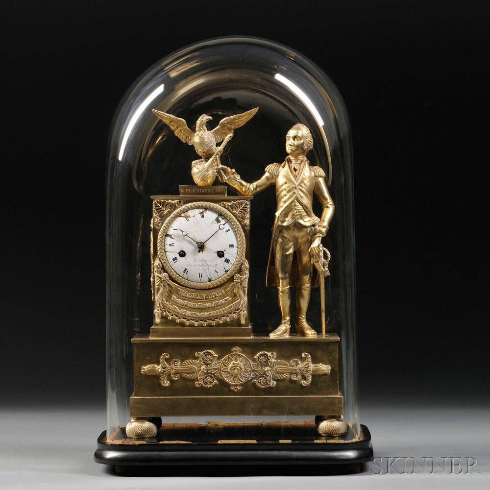 Dubuc Figural Mantel Clock Depicting George Washington