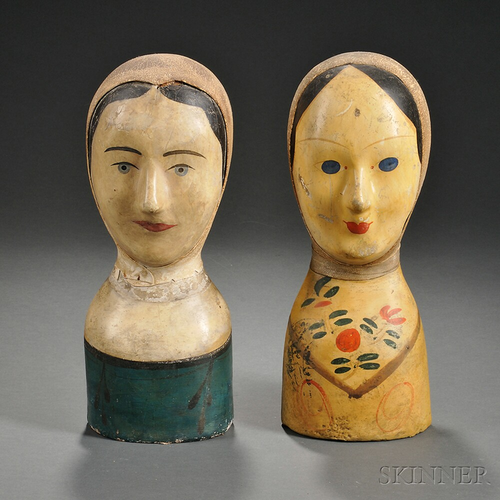Two Painted Papier-mache Milliner's Heads