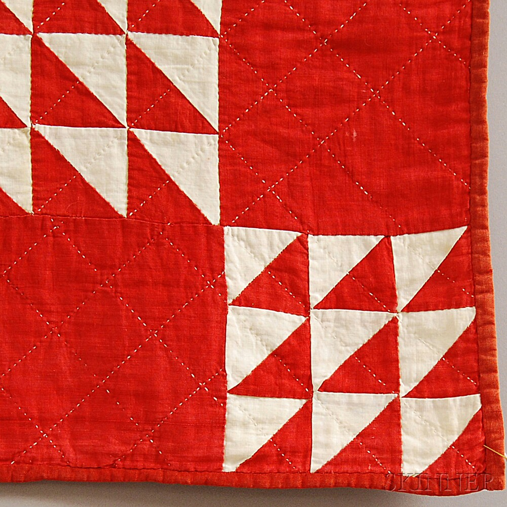 Red and White Geometric Pattern Crib Quilt