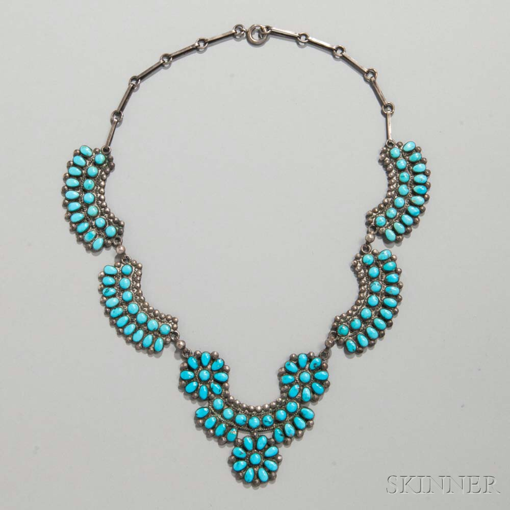 Zuni Petit-point Silver and Turquoise Necklace