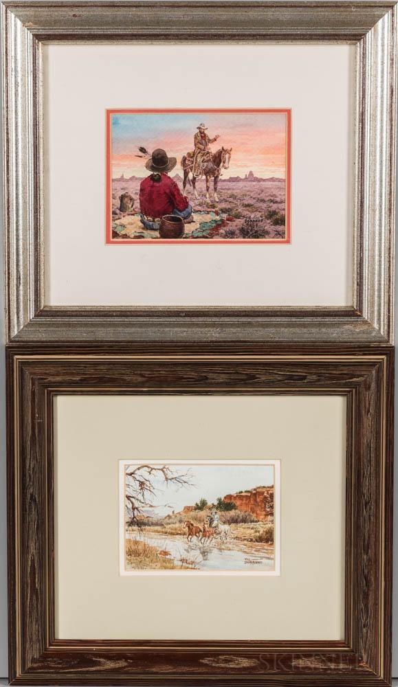 Vic (Victor Paul) Donahue (Arizona/New York/Nebraska, 1918-2008)    Two Western Watercolors on Paper