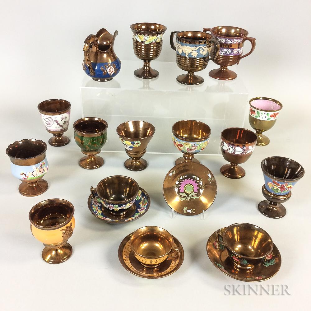 Twenty Copper Lustre Ceramic Items