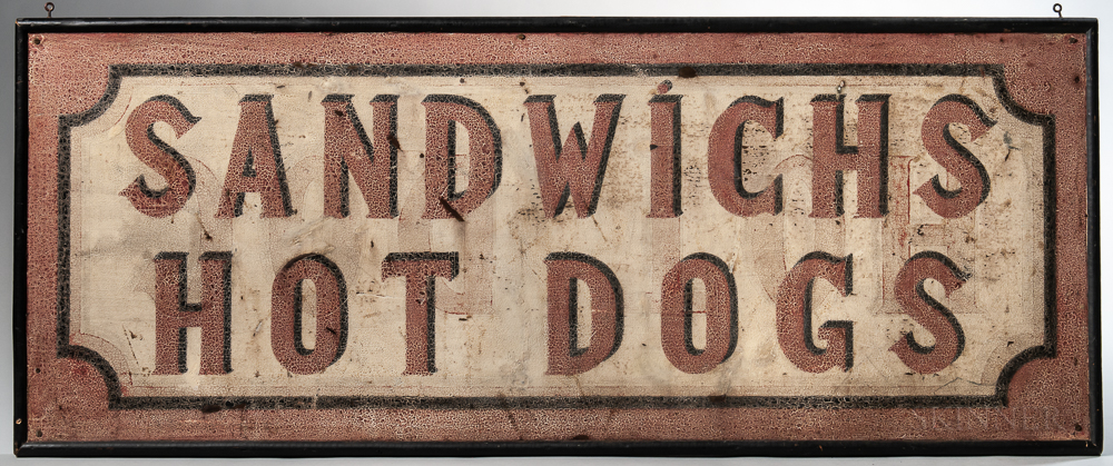 """Painted """"Sandwichs/Hot Dogs"""" Sign"""