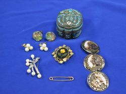 Chinese Silver and Enamel Box, Pietra Dura Brooch, Shell Buttons, Etc.