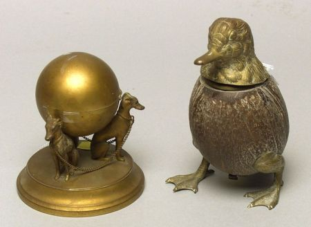 Two Figural Inkwells
