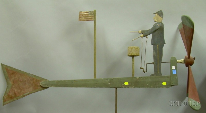 Large Painted Wood and Cut Metal Soldier Drummer with Flag Whirligig