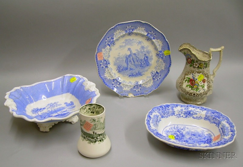 English Staffordshire Chamber Vase, Jug, Two Serving Bowls, and a Plate.
