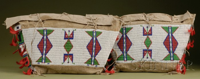 Pair of Central Plains Beaded Hide and Canvas Possible Bags