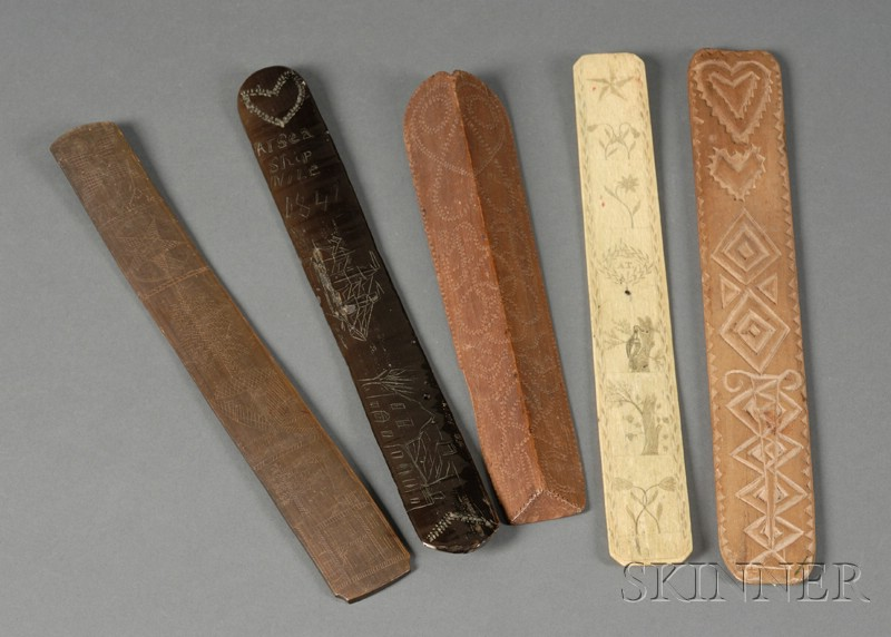 Five Carved and Engraved Busks