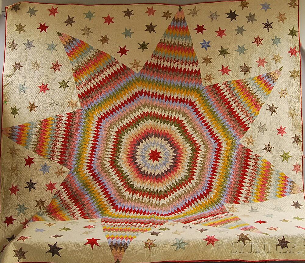 Pieced Cotton Star of Bethlehem Quilt