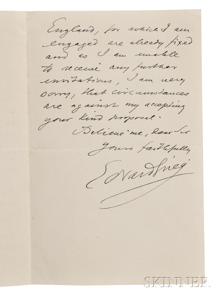 Grieg, Edvard (1843-1907) Autograph Letter Signed, Kristiania, 1906.