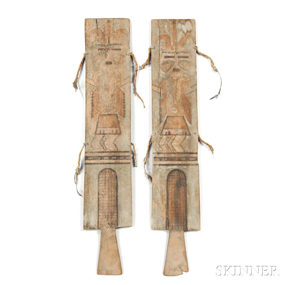 Pair of Hopi Painted Wood Dance Wands