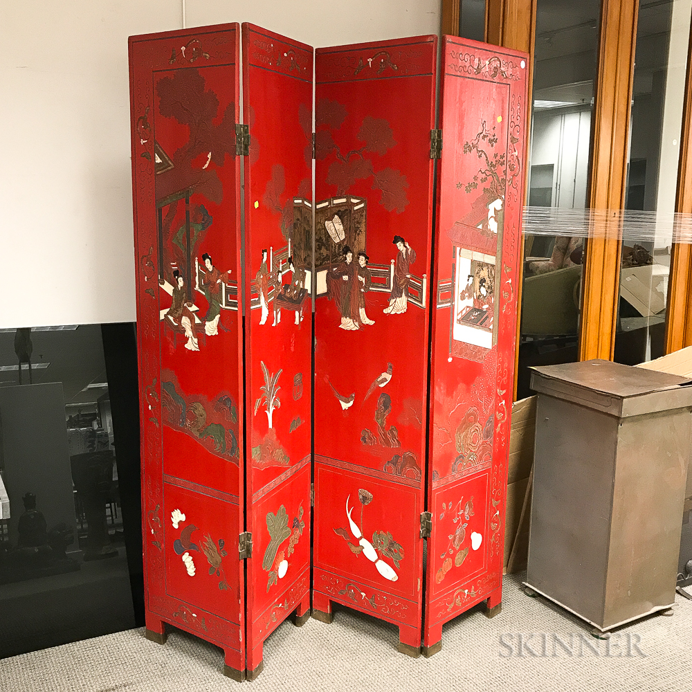 Chinoiserie-decorated Red-lacquered Four-panel Folding Screen
