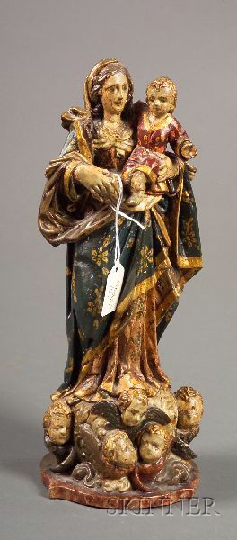 Continental Carved and Painted Figure of the Madonna and Child