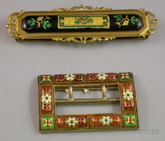 Two Enamel and Foil Belt Buckles