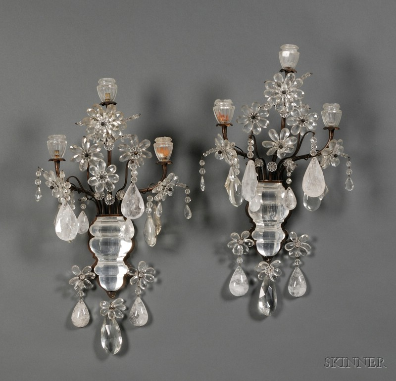 Pair of Baroque-style Rock Crystal and Colorless Glass Three Light Sconces
