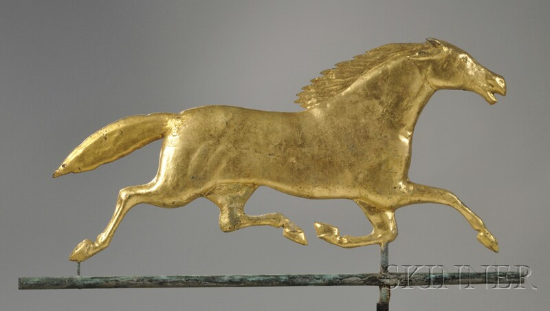 Gilt Cast Zinc and Molded Copper Running Horse Weather Vane