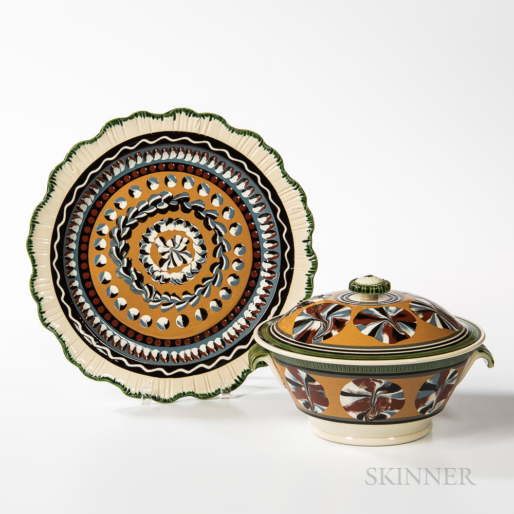 Don Carpentier Slip-decorated Creamware Covered Serving Bowl and Undertray