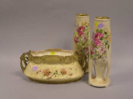Pair of Stellmacher Teplitz Art Pottery Vases and an Ernst Wahliss Pottery   Centerbowl
