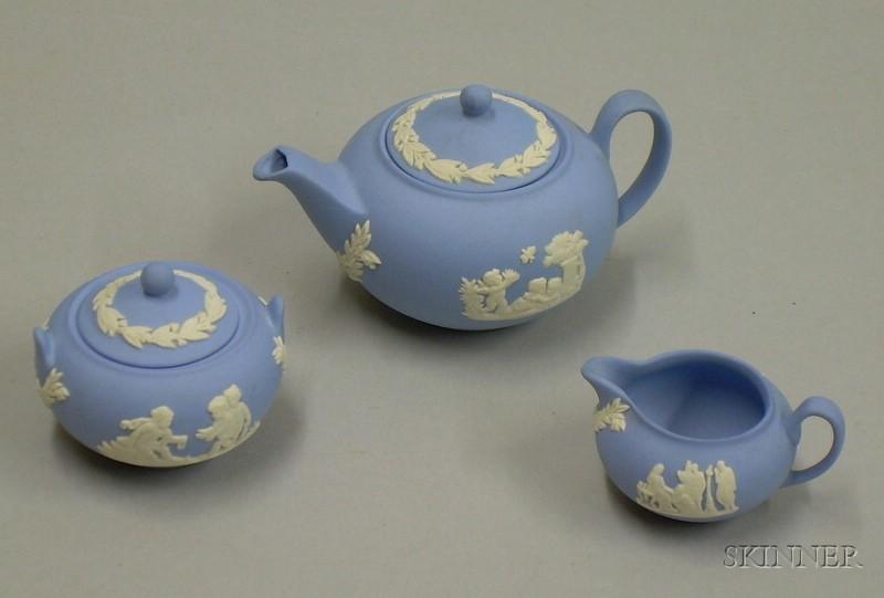 Three-piece Miniature Wedgwood Solid Light Blue Jasper Tea Set.