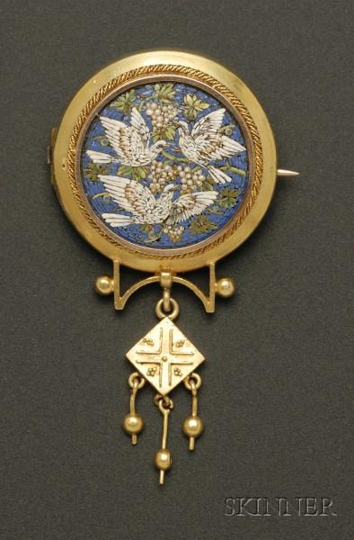 Victorian 14kt Gold Micromosaic Brooch