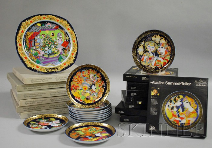 Three Sets of Rosenthal/Bjorn Wiinblad Porcelain Collector's Plates