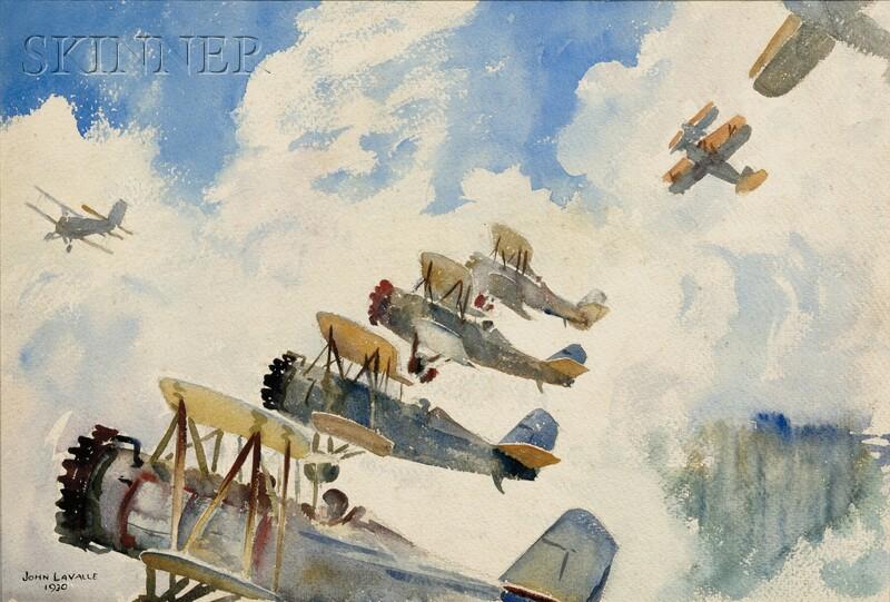John Lavalle (American, 1896-1971)      Two Biplane Dogfight Scenes.