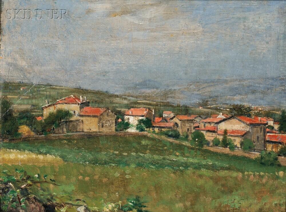 Émile-Victor-Augustin Delobre (French, 1873-1956)      Village Landscape, Chabannes, France