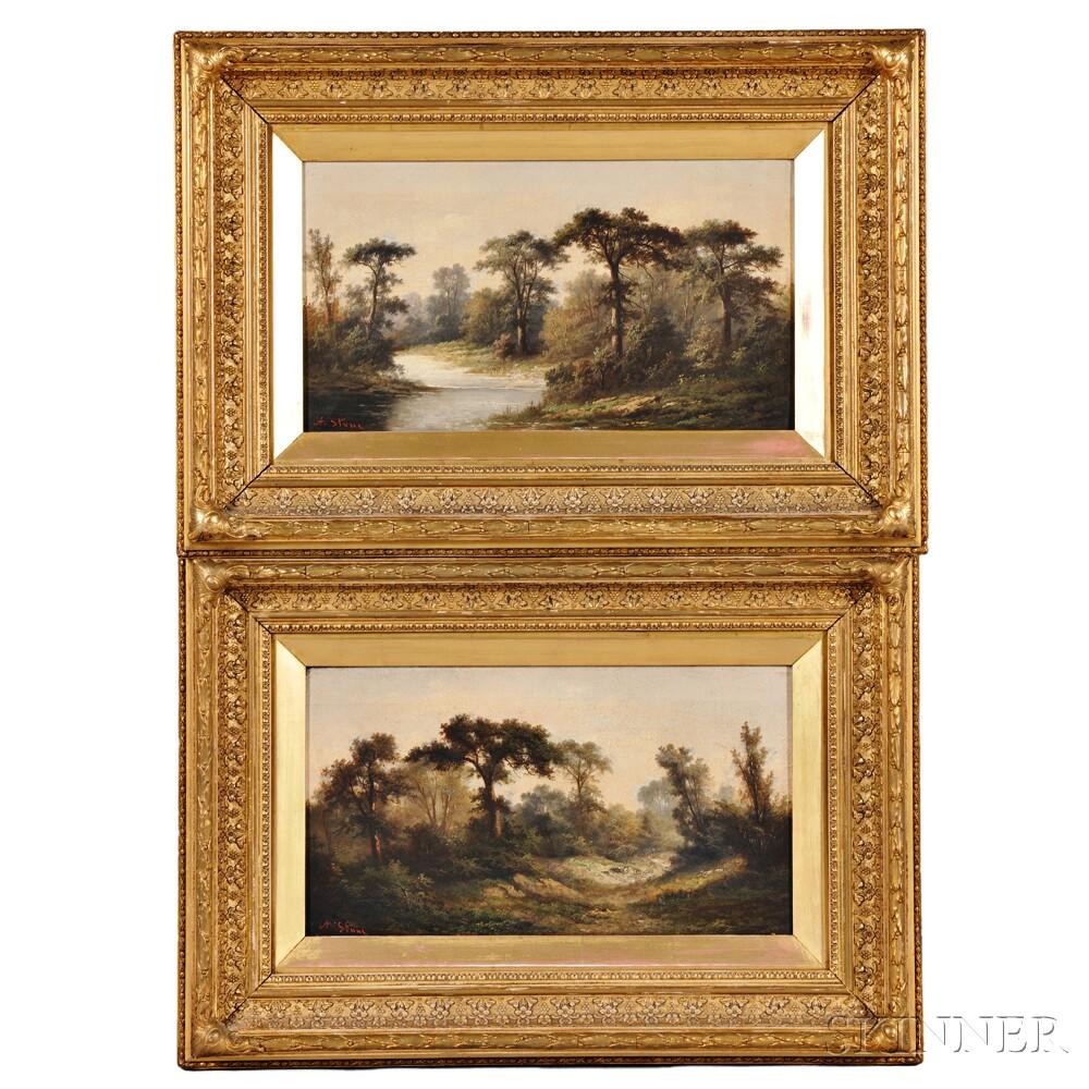 Ada Stone (British, 1879-1904)      Two Works: River Landscape