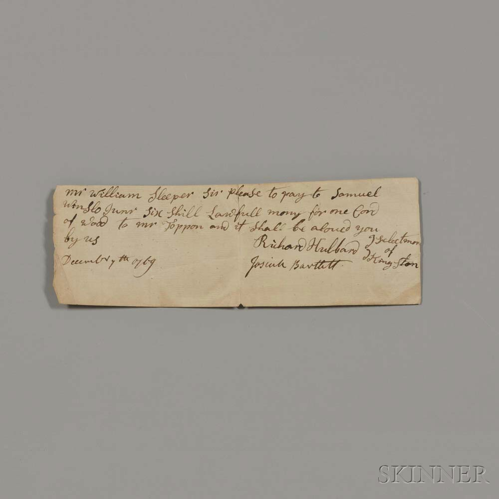 Bartlett, Josiah (1729-1795) Signed Receipt, 7 December 1769.
