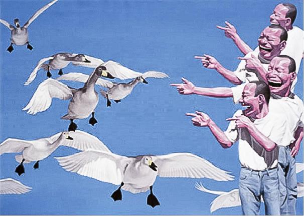 Yue Minjun    Big Swans