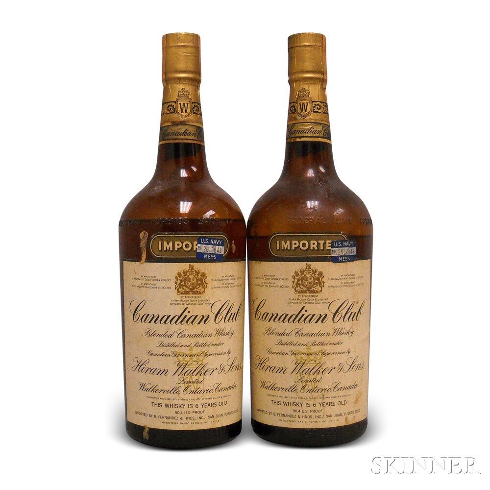 Canadian Club 6 Years Old 1952, 2 half gallon bottles