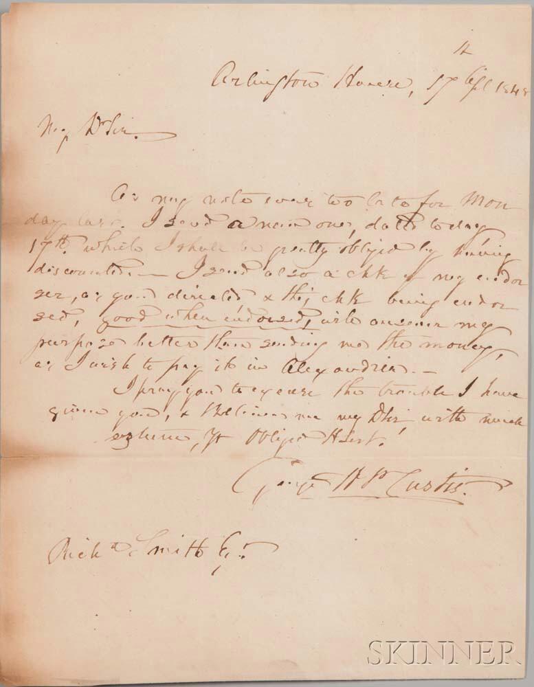 Custis, George Washington Parke (1781-1857) Autograph Letter Signed, Arlington House, 17 April 1848.