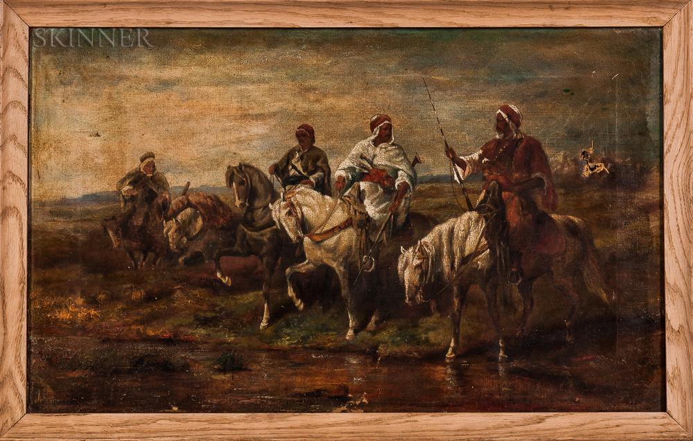 After Adolph Schreyer (French/German, 1828-1899)    Oil Sketch of Arab Horsemen